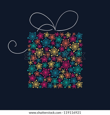 Present box with stylized color snowflakes - stock photo