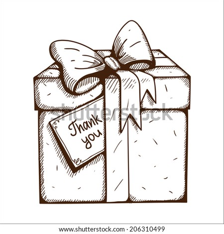 Present box with thank you text. Sketch illustration - stock photo
