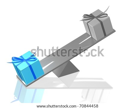 Present boxes balance. 3d render illustration. - stock photo