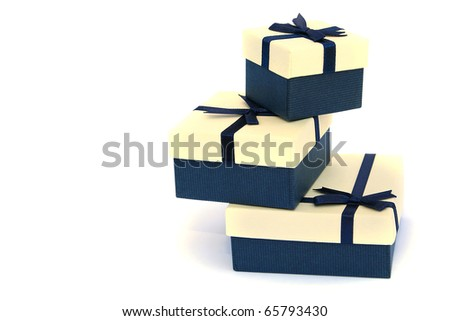 present boxes isolated on white background. - stock photo