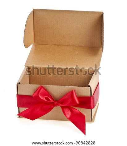 present boxes with red ribbon bows isolated on white - stock photo