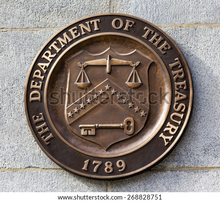 Present Bronze Seal Sign Symbol US Treasury Department adopted in 1968.  This seal has been used since 1968 until the present. - stock photo