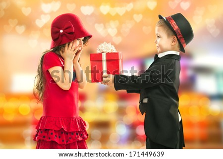 Present for a birthday, valentine's day or other holiday - stock photo