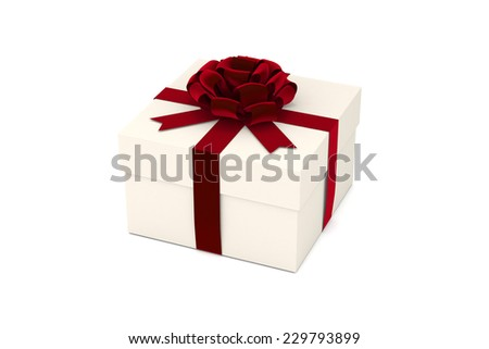 Present, Gift Box with Red Ribbon