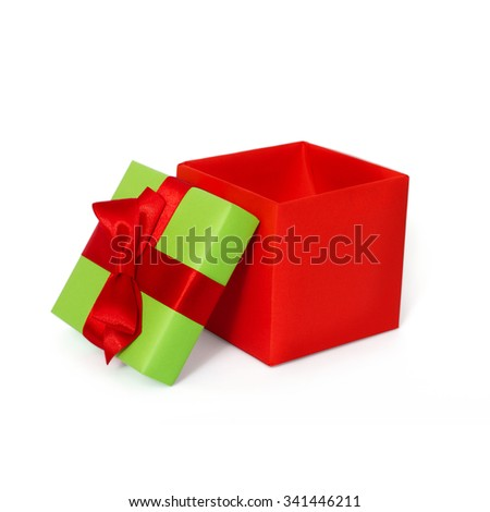 Present, gift box with ribbon and bow isolated on white background