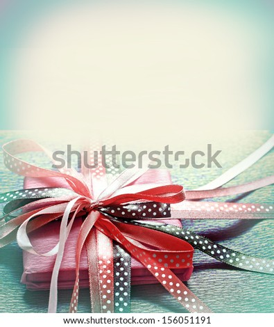 Present,gift in vintage style/Vintage holiday background/Valentines day background