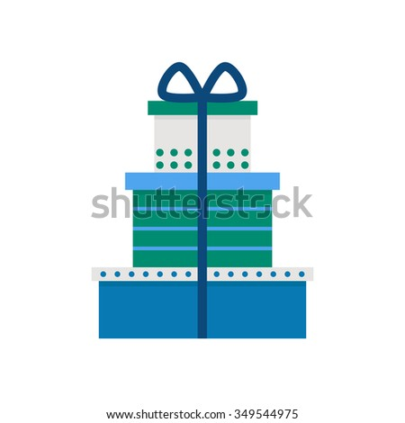 Present isolated icon on white background. Present box icon. Holiday presents. Birthday presents. Christmas presents. Present gift. Flat style illustration.  - stock photo
