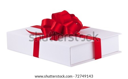 Present with red bow isolated on white background - stock photo