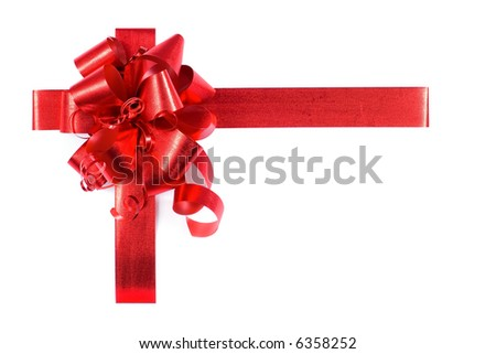 Present  with red  bow - top left - stock photo