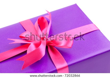 present with ribbon isolated on white background