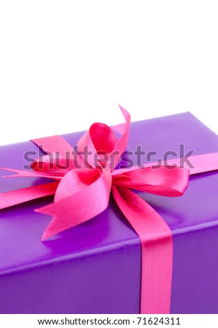 present with ribbon isolated on white background with copy space - stock photo