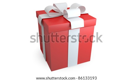Present with wite bow on white background - stock photo