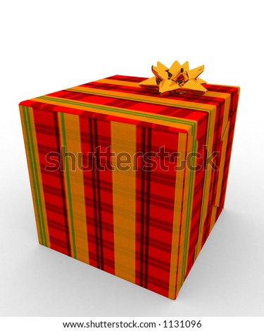 present wrapped in tartan wrapping paper - stock photo