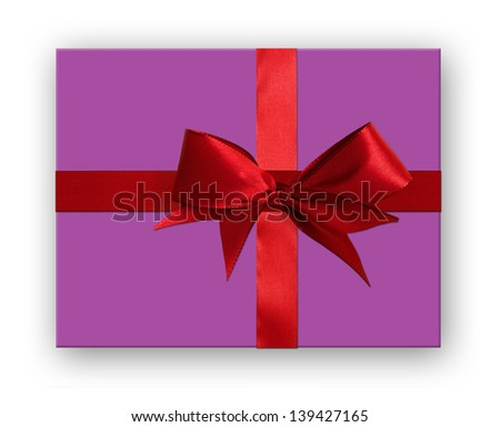 Present wrapped with a red rippon and bow. Isolated on white with shadow. - stock photo