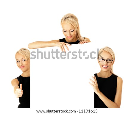 Presentation, billboard, businesswoman, team - stock photo