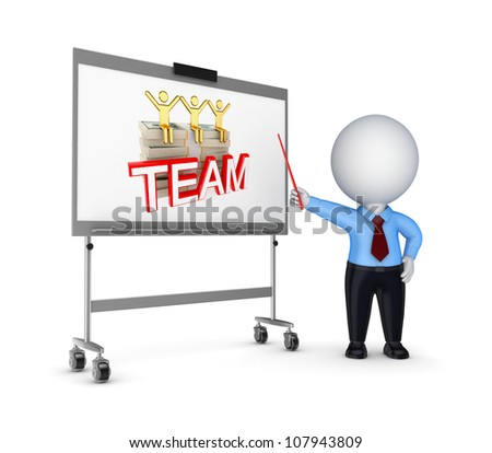 Presentation concept, 3d rendered illustration isolated on white. - stock photo