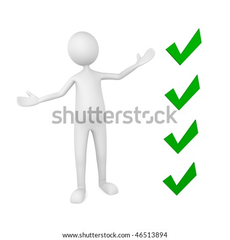 Presentation concept, depicting man pointing to key check points - stock photo