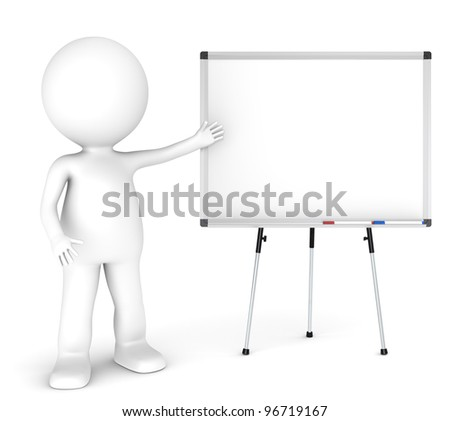 Presentation. 3D little human character with a blank whiteboard and 2 pens. Symmetric front view. People Series.