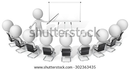 Presentation. Dude the Business people X 10 during presentation on whiteboard. - stock photo