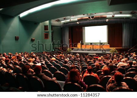 presentation in auditorium - stock photo