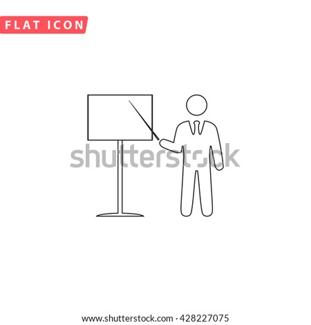 Presentation. Man standing with pointer. Black outline simple pictogram on white. Line icon
