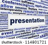 Presentation message background. Meeting poster conceptual design - stock photo