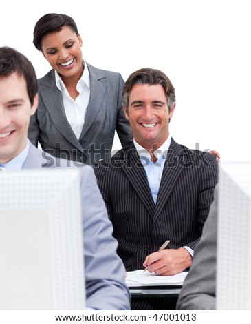 Presentation of a business team at work in the office - stock photo