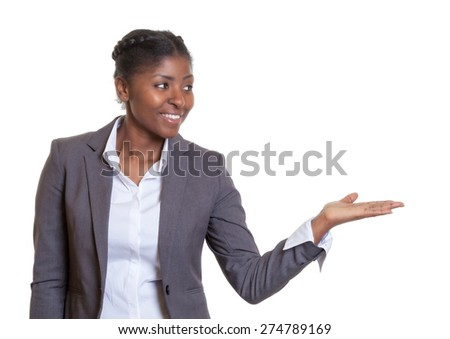 Presentation of a happy african businesswoman - stock photo