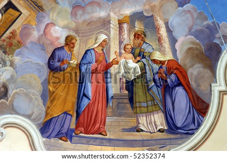 Presentation of Jesus at the Temple - stock photo