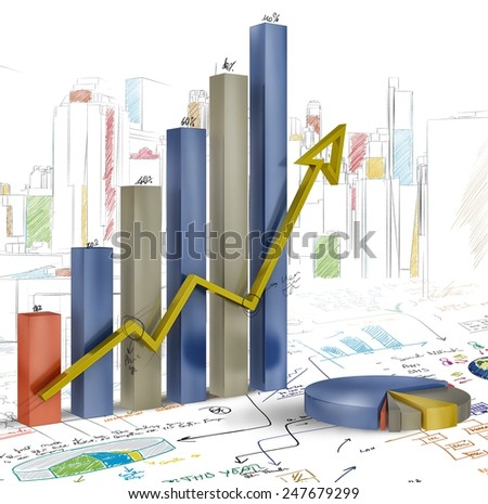 Presentation of project with statistics and graphs - stock photo