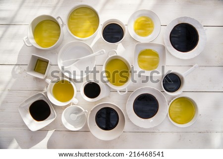 Presentation of the basic ingredients of Italian cuisine, olive oil and vinegar  - stock photo