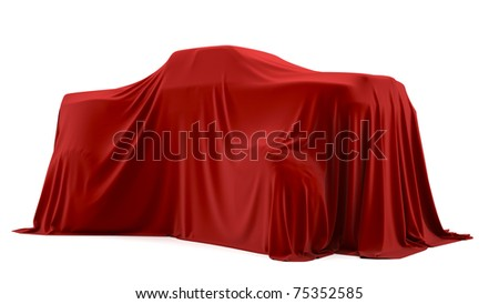 Presentation of the big car. Autoshow. Car under the tissue. - stock photo