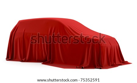 Presentation of the car. Autoshow. Car under the tissue. - stock photo