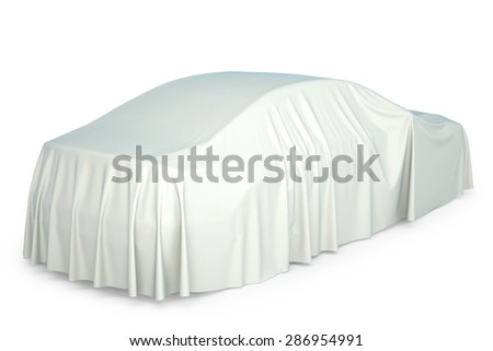 Presentation of the new car. Car covered with a white cloth. - stock photo
