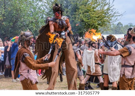 Presentation of the traditional culture of the Vikings. Annual folk festival August 2, 2015 in Catoira, Galicia, Spain.