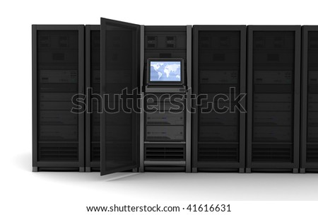 presentation server-room of the server on earth