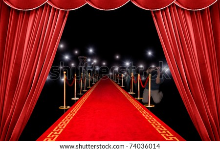 Presentation with red carpet and photographer - stock photo