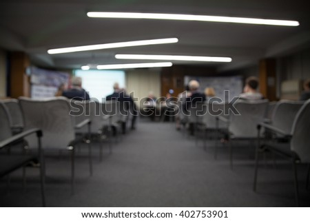 presentations, blurred photos conference room for a presentation