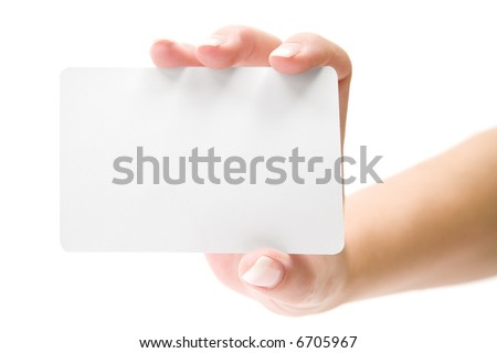 Presenting a Blank Card - stock photo