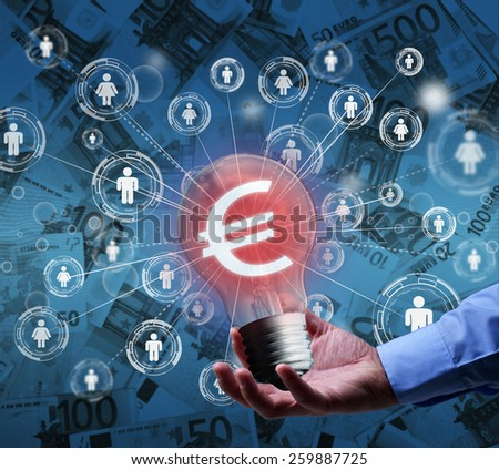 Presenting a new idea - crowdfunding or community funding concept - stock photo