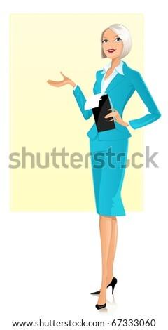 Presenting businesswoman - stock photo