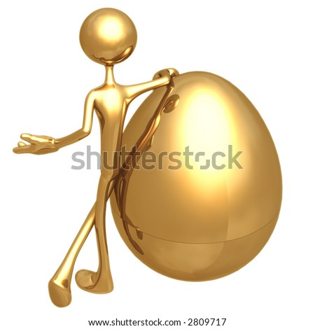 Presenting Gold Nest Egg - stock photo