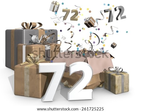 Presents and confetti. Industrial look, metallic colors like gold and silver for a man or a womans birthday. On front of the image 3D number 72 - stock photo