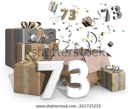 Presents and confetti. Industrial look, metallic colors like gold and silver for a man or a womans birthday. On front of the image 3D number 73 - stock photo