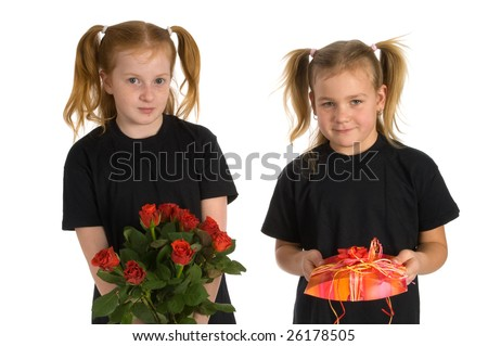 Presents by two little girls - stock photo