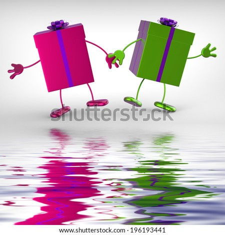 Presents Displaying Receiving And Unwrapping Xmas Or Birthday Gift - stock photo