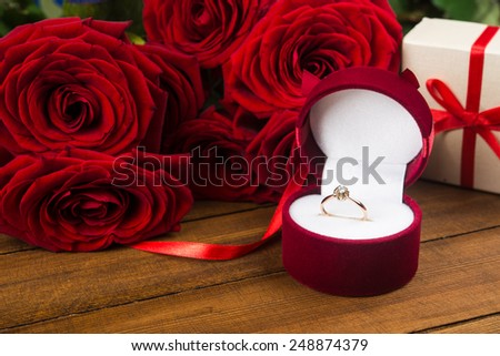 Presents for woman on Valentine Day - stock photo