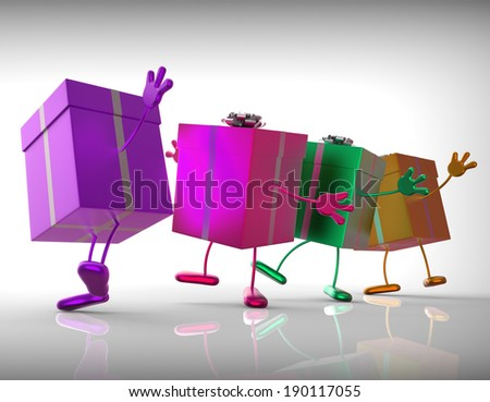 Presents Meaning Buy Gift For Special Occasion - stock photo