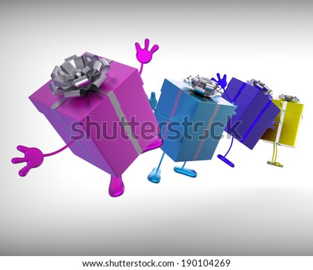 Presents Meaning Give And Receive Gifts For Special Occasion - stock photo