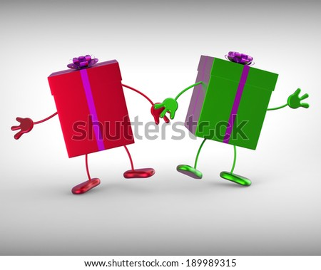 Presents Meaning Receiving And Unwrapping Xmas Or Birthday Gift - stock photo